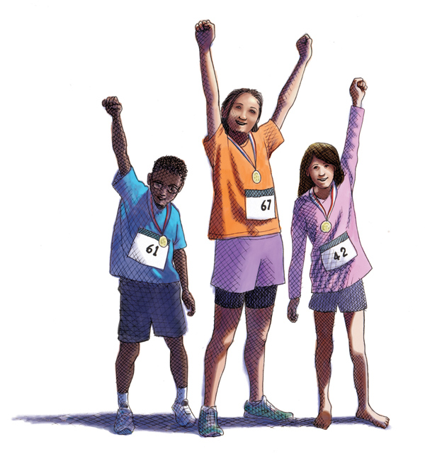 kids celebrating placing in a race